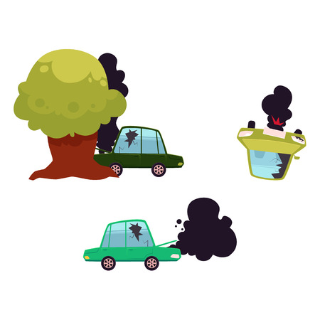 vector flat cartoon broken car with cracked glass, open hood and black smoke coming from it, overturned vehicle, tree crashed auto set. Isolated illustration on a white background. Road safety concept
