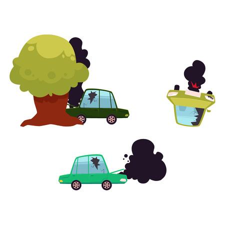 vector platte cartoon gebroken auto met gebarsten glas, open kap en zwarte rook afkomstig van het, ten val gebrachte voertuig, boom gecrashte automatische set. Geïsoleerde illustratie op een witte achtergrond. Verkeersveiligheid concept Stock Illustratie