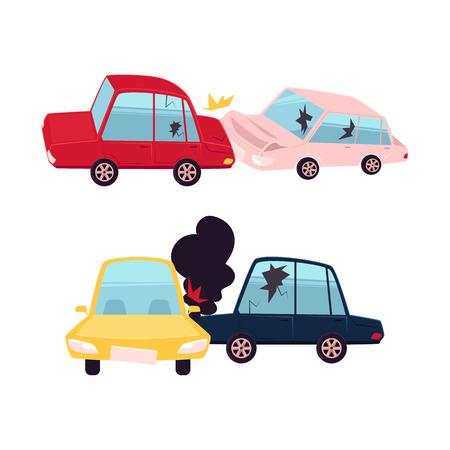 Accident de voiture Vector plate bande dessinée, accident set. Collision frontale et frontale. les deux véhicules ont des bosses, des vitres brisées, des égratignures, du feu et de la fumée provenant du capot. Illustration isolée sur fond blanc Banque d'images - 84899707