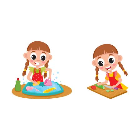 女の子は家事、雑用のお皿を洗うと、白い背景で隔離の漫画ベクトル図の料理します。皿洗い、調理、家事を少し少女を漫画します。  イラスト・ベクター素材
