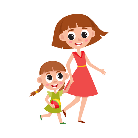 Mother and daughter, little girl walking with her mom, holding hands and talking, cartoon vector illustration isolated on white background. Cartoon girl walking with her mom, mother and daughter Illustration