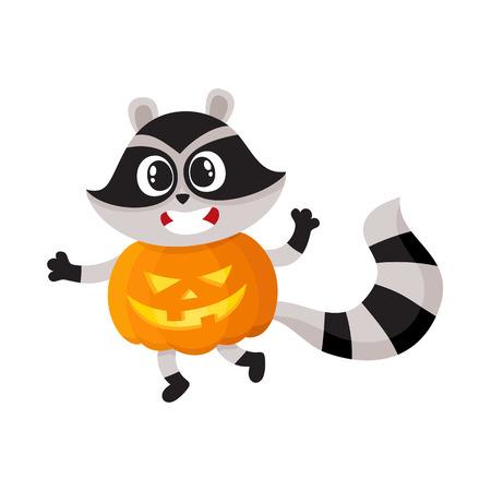 フラットの漫画面白いの不気味なアライグマ着て大きなカボチャ笑顔をベクトルします。白い背景に分離の図。空想の動物概念のハロウィーンの衣  イラスト・ベクター素材
