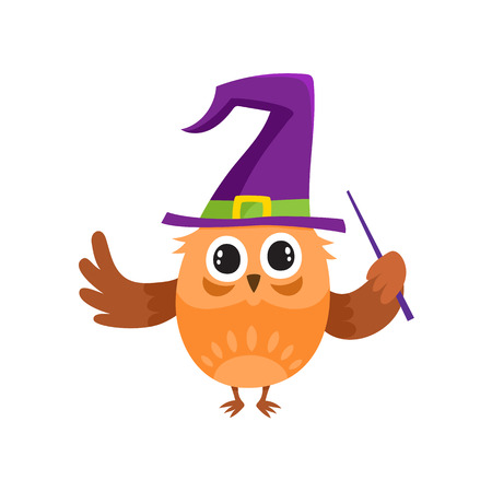 vector flat cartoon funny purple owl dancing in big blue witch, wizard pointed hat with magic stick in hand. Isolated illustration on a white background. Fancy Halloween outfit for an animal concept