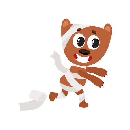 フラットの漫画面白い犬のベクトルは、ミイラのようなトイレット ペーパーに包まれました。白い背景に分離の図。空想の動物概念のハロウィーン