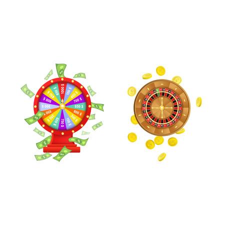 Vettore piatto di gioco d'azzardo ruota fortuna della fortuna con la pioggia del dollaro intorno, ruota di roulette del casinò con le monete d'oro impostato. Illustrazione isolata su uno sfondo bianco. Segno di profitto, soldi facili. Archivio Fotografico - 84899701