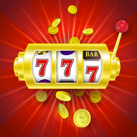 vector flat cartoon lucky triple seven Jackpot, golden slot mashine with dollar rain around. Illustration on a red background. Sign of profit easy money. Casino, gambling games design poster
