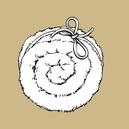 absorbent: Top view of rolled up fluffy green towel, spa salon accessory, black and white outline vector illustration on color background. Realistic hand drawing of towel roll, spa salon accessory
