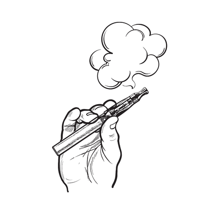 Male hand holding e-cigarette, electronic cigarette, vapor with smoke coming out, black and white sketch vector illustration isolated on background. Illustration