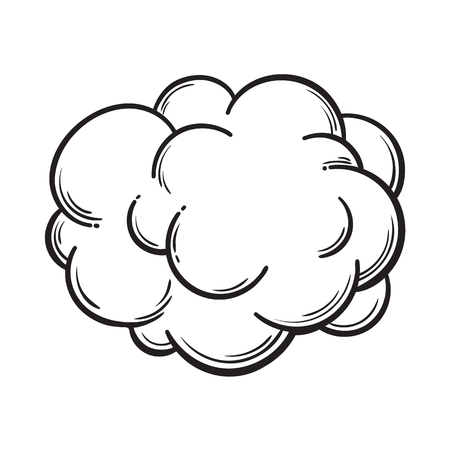 Hand drawn fog, smoke cloud, black and white comic style sketch vector illustration isolated on white background. Hand drawing of smoke, cloud, haze, comic style design element Illustration