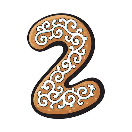 유약 된 2, 2 숫자 모양의 수 제 크리스마스 생강 빵 쿠키, 흰색 배경에 고립 된 벡터 일러스트 레이 션을 스케치합니다. 크리스마스 글레이즈 진저 쿠키 일러스트