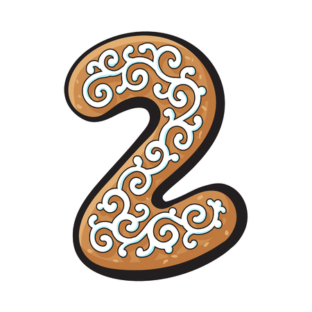 Glazed two, 2 number shaped homemade Christmas gingerbread cookie, sketch vector illustration isolated on white background. Decorated Christmas glazed gingerbread cookie in shape of two, 2 number