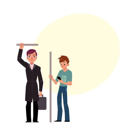 Two men, male passengers in subway - businessman and student with smartphone, cartoon vector illustration with space for text. Subway passengers standing in subway, student and businessman