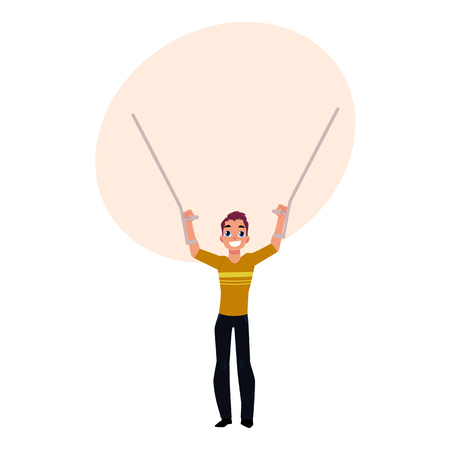 Farewell to crutches, medical rehabilitation, recovery after trauma, cartoon vector illustration with bubble speech. Rehabilitation, recovery from trauma, no more need for crutches anymore