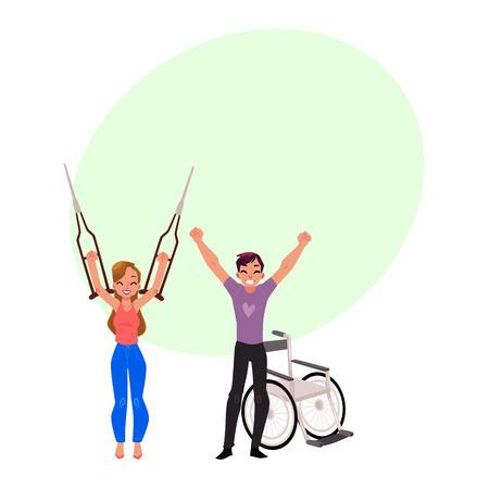Afscheid van krukken en rolstoel, medische rehabilitatie, herstel, cartoon vectorillustratie met zeepbel spraak. Rehabilitatie, herstel van trauma, geen behoefte meer aan krukken, rolstoel Stock Illustratie