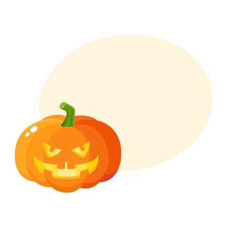 Laughing, grinning pumpkin jack-o-lantern with vampire teeth, Halloween symbol, cartoon vector illustration with space for text. Pumpkin lantern with grinning face, Halloween decoration