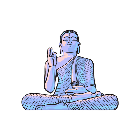 vector sketch cartoon eastern, oriental statue of sitting in Lotus posture Budda. Isolated illustration on a white background. Hand drawn Sri-lanka symbol Banco de Imagens - 84986257