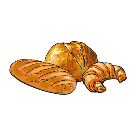 vector sketch fresh white loaf bread, Croissant set . Detailed hand drawn isolated illustration on a white background. Flour pastry products, bakery banner, poster design object