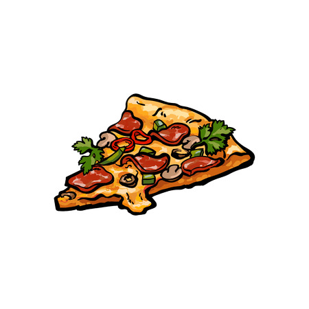Vector sketch pizza slice. Fast food cartoon isolated illustration on a white background. Pepperoni, cheese, olives. Italian food icon. Restaurant, cafes advertising object