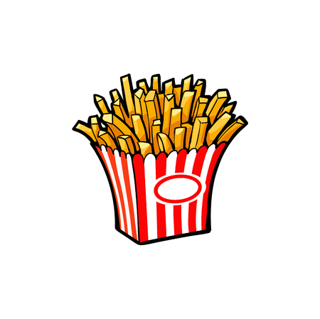 Vector sketch potato fry, french fries on striped red white paper box. Hand drawn cartoon isolated illustration on a white background. Tasty fast food Illustration