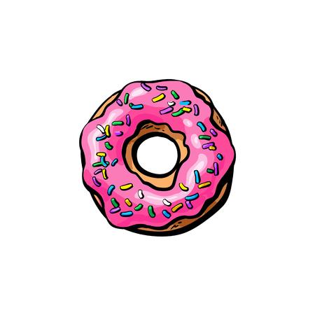 ベクター スケッチ ドーナツ ピンク釉アイシング、振りかけると漫画の白い背景の上の隔離された図。甘いデザート食品、スナック
