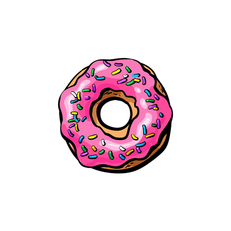 Vector sketch donut with pink glaze icing and sprinkles cartoon isolated illustration on a white background. Sweet delicious dessert food, snack Illustration