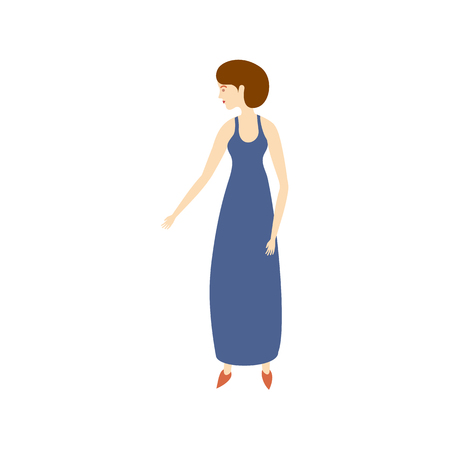 vector flat adult woman in blue long dress isolated. Isolated illustration on a white background. Full lenght portrait. Family character cartoon concept