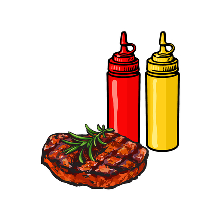Ketchup, mustard and beef steak, fast food concept, sketch vector illustration on white background. Realistic hand drawing of grilled, roasted beef, pork steak with ketchup and mustard bottles Illustration