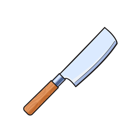 vector meat butcher cleaver knife sketch cartoon isolated illustration on a white background. Kitchenware equipment utensil objects concept Illustration