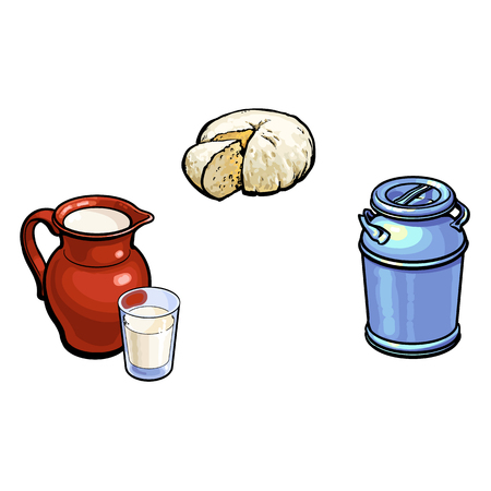 vector sketch cartoon style stainless steel milk-can container, sheep milk pitcher with glass and cheese set. Isolated illustration on a white background. Hand drawn products design objects Illustration