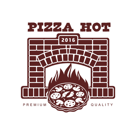 vector flat icon, pictogram of pizza in fireplace, oven with flame. Isolated illustration on a white background. Pizzaria company brand , logo ready to use design.
