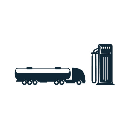 vector gasoline tanker truck vehicle and fueling gas station set simple flat icon pictogram isolated on a white background. Gas oil fuel, energy power industry symbol, sign Ilustração