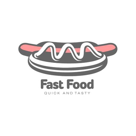 Hotdog der Vektorwurst mit Salat und Gemüse. Flache Karikatur des Schnellimbisses lokalisierte Illustration auf einem weißen Hintergrund. frisches Sandwich mit Soße und Salat Standard-Bild - 84986555