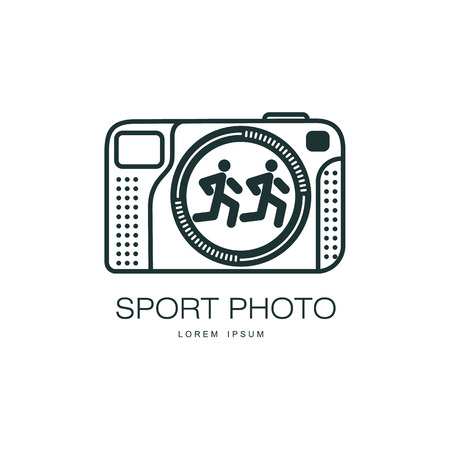 Vector sport photo camera icon. Flat cartoon isolated illustration on a white background. Logo brand concept for photo studio