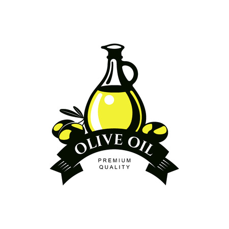 leaf logo: vector olive oil logo icon brand concept with bottle, olive branch. Isolated illustration on a white background Fresh natural food, agriculture and healthy eating concept