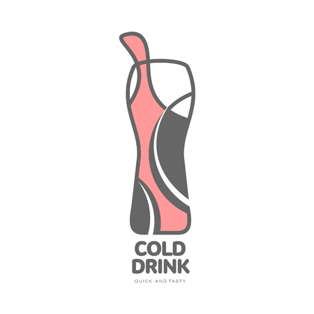 vector cold soft drink glass in simple line style icon. Fast food concept, fresh cold drink. Isolated illustration on a white background