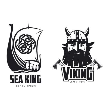 Vector vikingos icono logotipo plantilla diseño simple conjunto plano aislado ilustración sobre un fondo blanco. Ejes y hombre en casco con bigote y barba brutal retrato, barco de madera con imagen de vela Logos