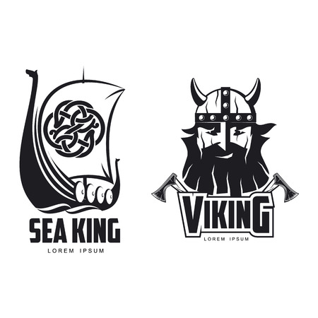 vector vikings icon logo template design simple set flat isolated illustration on a white background. Axes and man in helmet with mustache and beard brutal portrait, wooden ship with sail image Vectores