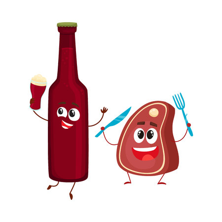 Funny beer bottle and big meat steak characters having fun, cartoon vector illustration isolated on white background. Funny smiling beer bottle and steak, piece of meat characters, good company