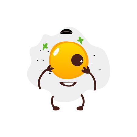 ●笑顔の人間の顔をした、白い背景に孤立した、漫画のベクターイラストを使用した、陽気なそばのキャラクター。1つの卵黄、朝食の文字で面白い  イラスト・ベクター素材