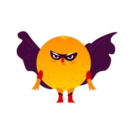 Funny orange fruit hero, superhero character, guard, defendor, flat style cartoon vector illustrations isolated on white background. Orange fruit hero, superhero character in mask and cape