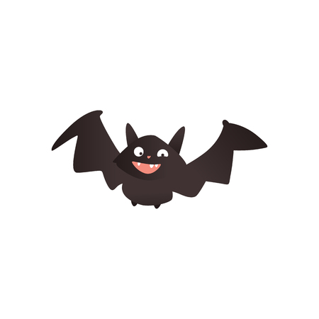 Funny vampire bat flying with wide spread wings, traditional Halloween symbol, cartoon vector illustration isolated on white background. Funny, crazy cartoon style Halloween bat with wide spread wings