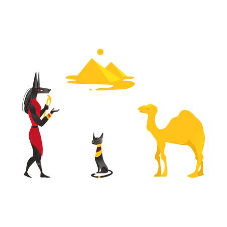 Set of Egypt symbols - Anubis, Bastet black cat, camel and pyramids, flat cartoon vector illustration isolated on white background. Set of Egyptian symbols - Anubis, black cat, camel and pyramids