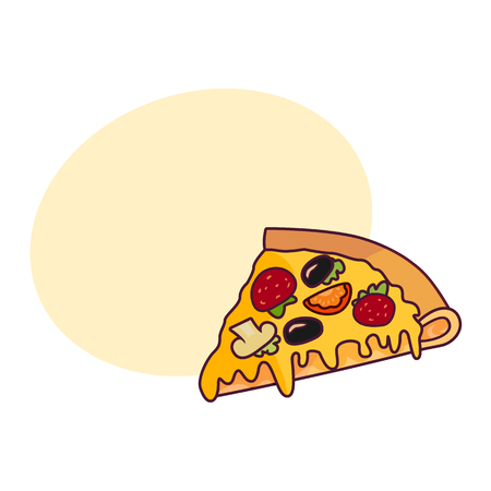 Vector pizza slice. Fast food flat cartoon isolated illustration on a white background. Pepperoni, cheese, olives. Italian food icon. Restaurant, cafes advertising object with speech bubble Illustration