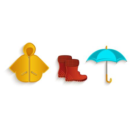 벡터 만화가 기호 개체를 설정합니다. 흰색 배경에 고립 된 그림입니다. 고무 부츠 비옷과 우산. 가을 개체 개념 일러스트