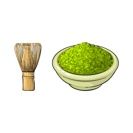 vector sketch cartoon hand drawn ceramic bowl of green mathca tea powder and bamboo whisk top view set. Isolated illustration on a white background. Traditional tea ceremony attribute, symbol Ilustração