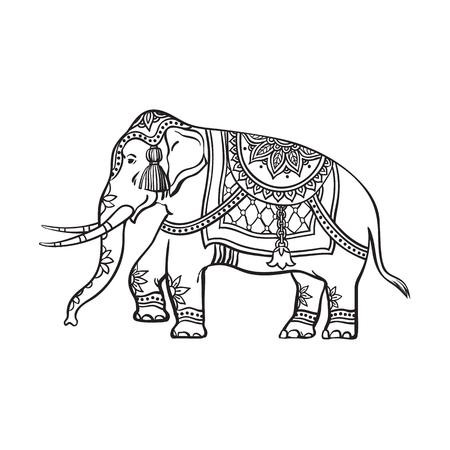 スケッチ漫画装飾された東洋のインド象をベクトルします。白い背景に分離の図。大きな牙と伝統東祭り動物。手描きスリランカ、インドのシンボ