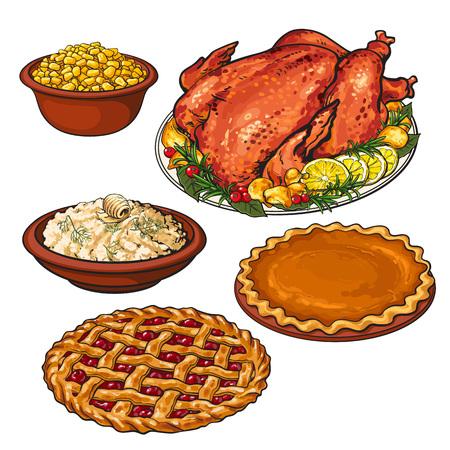 七面鳥の丸焼き、マッシュ ポテト、スイート コーン、感謝祭の夕食の食べ物、スケッチのボウルは、白い背景で隔離の図をベクターします。手七面  イラスト・ベクター素材