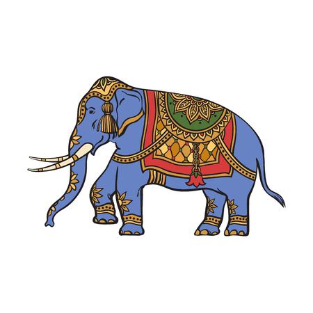 Vektor-Skizze Cartoon indischen Gold dekoriert orientalischen Elefanten. Isolierte Darstellung auf einem weißen Hintergrund. Traditionelles östliches festliches Tier mit großen Stoßzähnen. Handgezeichnete Sri Lanka, Indien Symbole Standard-Bild - 85238751