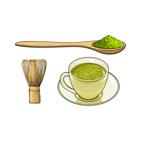 vector sketch cartoon hand drawn ceramic cup of green mathca tea ,bamboo spoon with powder, and wooden whisk set. Isolated illustration on a white background. Traditional tea ceremony attribute symbol Illustration
