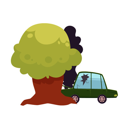 vector flat cartoon car accident with cracked window glass, black smoke coming from hood. Green colored vehicle crashed into the tree. Isolated illustration on a white background. Road safety concept